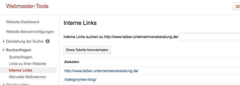 Interne Verlinkung Google Webmaster Tool