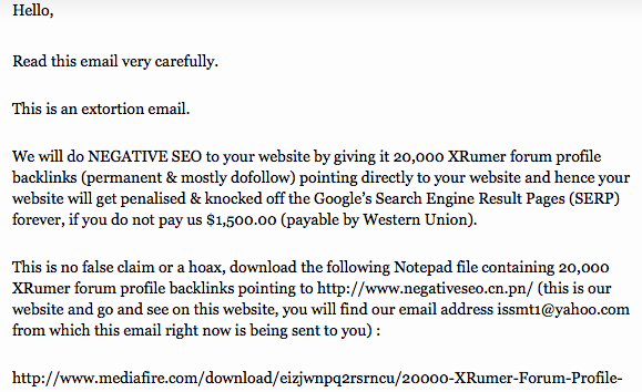 Negative SEO Extortion Emails