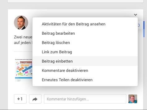 Google+ Beiträge einbinden