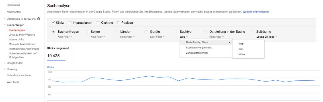 Suchanalyse Bild in Google Search Console