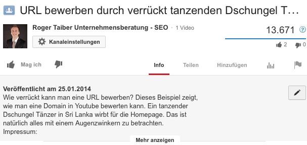 Youtube SEO Beschreibung Video