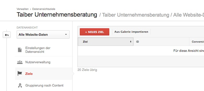 Google Analytics Conversion Ziele 2