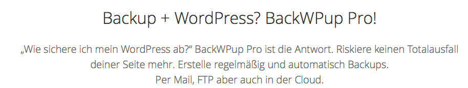 Backwpup Datensicherung