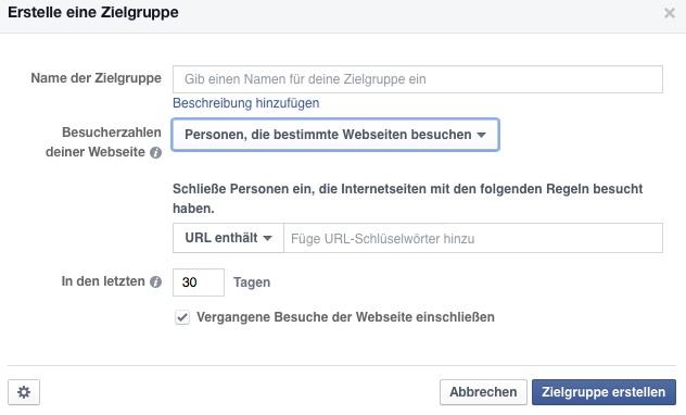 Facebook Retargeting Besucher