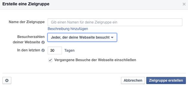 Facebook Retargeting Jeder der deine Webseite besucht