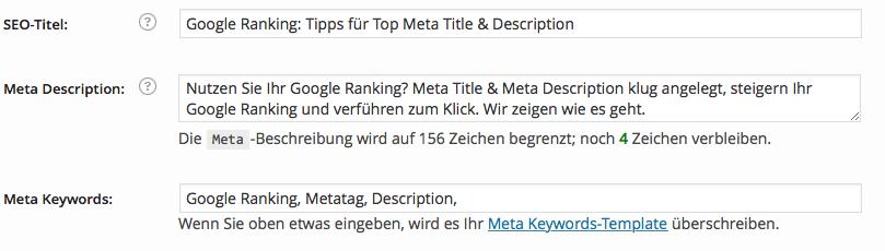 Google Metatag optimieren
