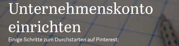 Pinterest Unternehmenskonto einrichten