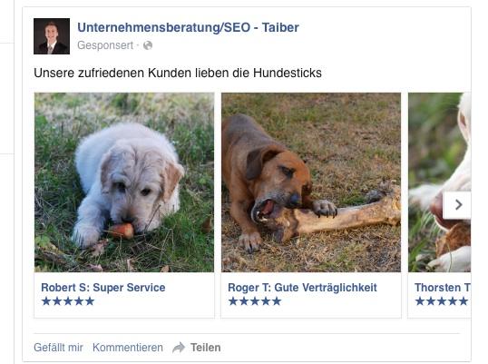 Facebook Ads mit Produktbewertungen