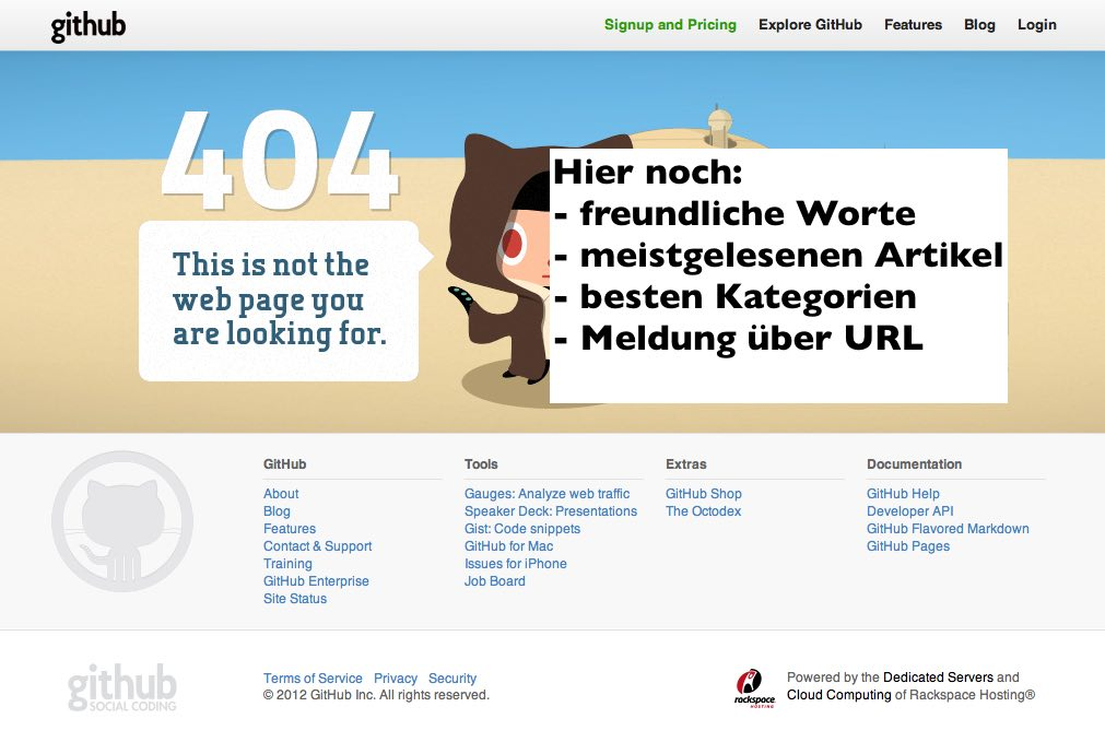 Perfekte 404 Seite