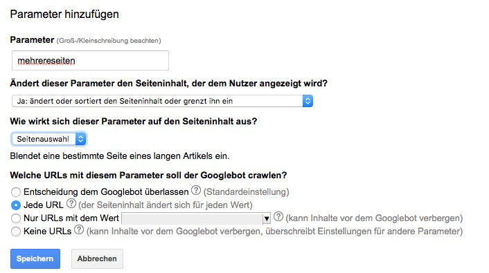 Seitenauswahl URL-Parameter Search Console