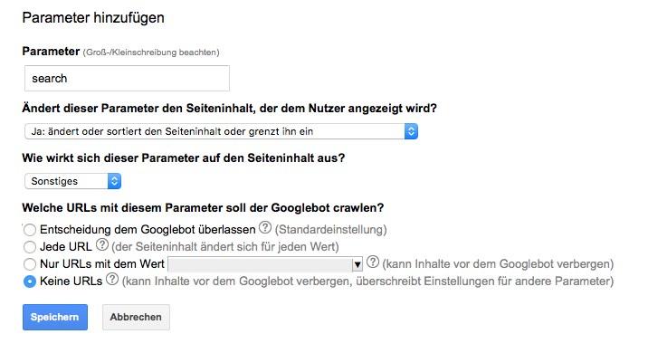 Suche URL-Parameter Online Shop