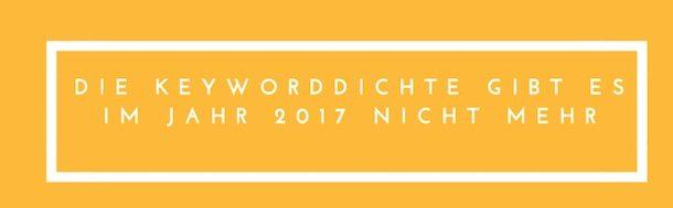 Keyword Dichte 2017