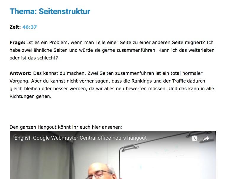 Seitenstruktur Google