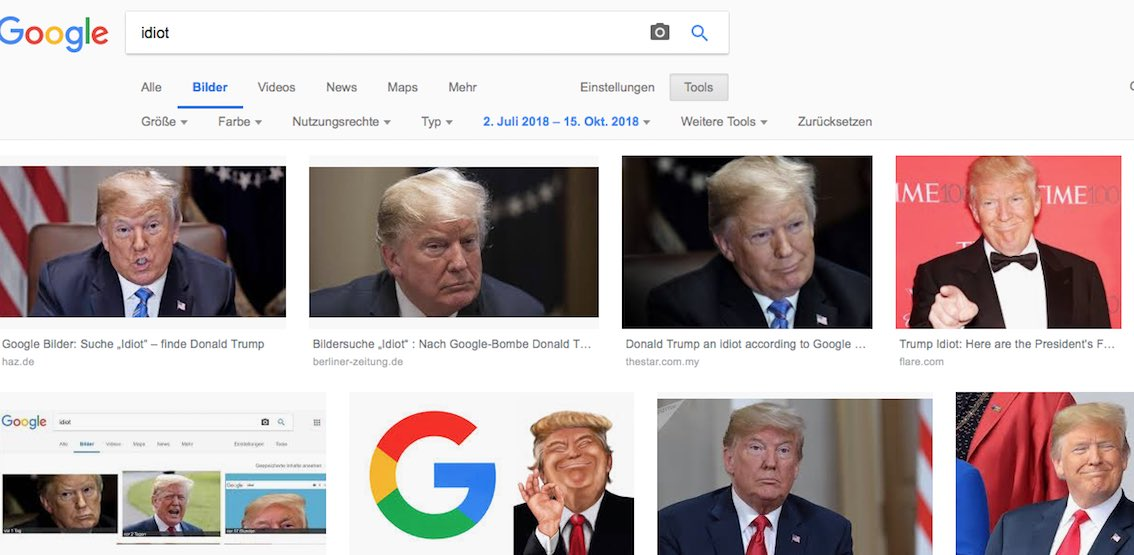 Donald Trump in Google Bildersuche